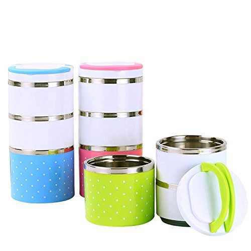 Xectes 1230 ML - 3 Container Tiffin/Lunch Box with Multi-Layer Insulation Persistent Heat Prevention System (3 Layer) 1 Piece