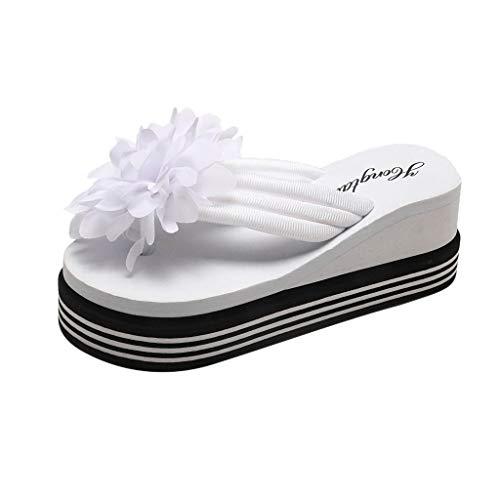 Pantofole da Donna Estiva Sandali alla Moda Zeppe Infradito Fiori Pantofola da Donna,Tacco 6cm (35 EU, Bianco)