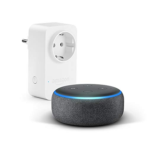 Echo Dot (3.ª generación), tela de color antracita + Amazon Smart Plug, compatible con Alexa