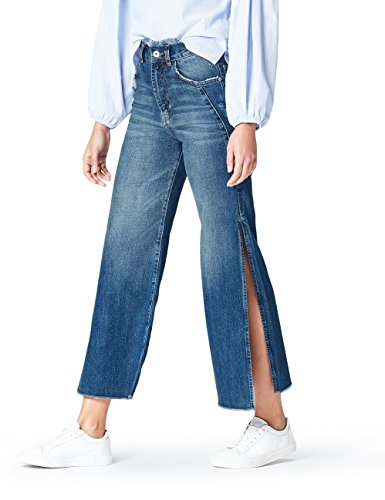FIND Side Slit, Jeans Flared Mujer, Azul (Dark Blue), M (Talla Fabricante: M)