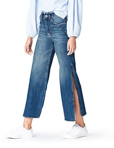 FIND Side Slit, Jeans Flared Mujer, Azul (Dark Blue), M (Talla Fabricante: M)