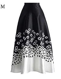 1f750e075551 Damen Rock Knielang A Linie High Waist Kleid Blumen druck Bunte hohe  Plissee Rock Casual Minikleider Röcke…