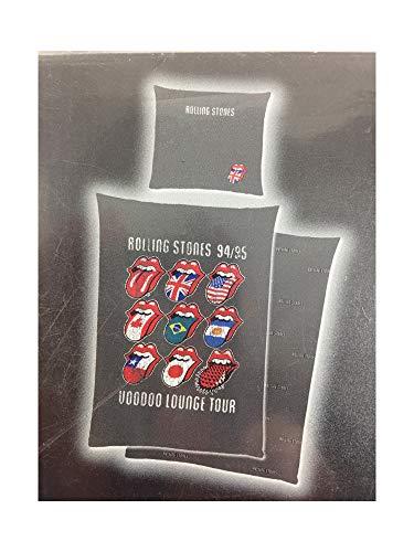 Bettwäsche Rolling Stones Voodoo Lounge Tour Wendemotiv Bezug 135x200cm Kissen 80x80cm 100% Baumwolle mit Reißverschluss