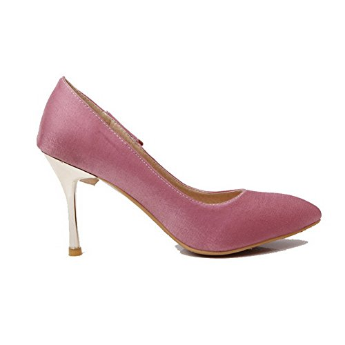 AgooLar Femme Matière Souple Tire Pointu à Talon Haut Couleur Unie Chaussures Légeres Rose