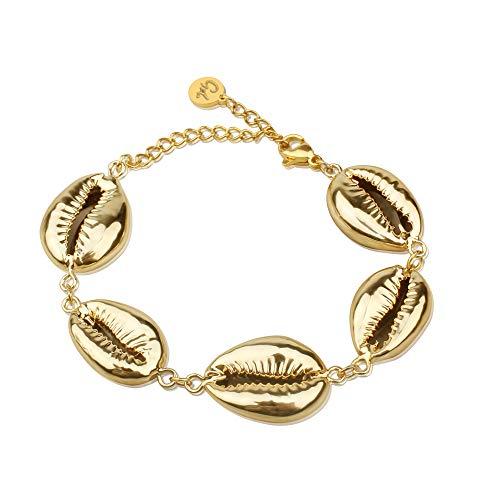 GD GOOD.designs EST. 2015 ® Muschel Armkettchen für Damen (für schmale Handgelenke) Shell Armband für Frauen und Mädchen (Gold)