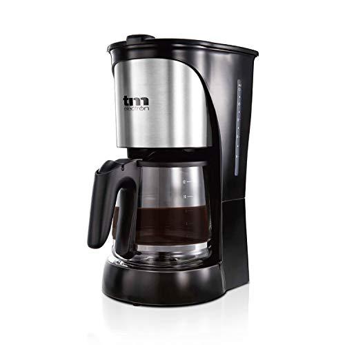 TM Electron TMPCF005 cafetera eléctrica de Goteo, 1000W de Potencia, Jarra de 1,5L para 12 Tazas y Filtro extraíble, Acero Inoxidable