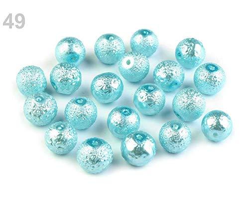 20stück 49 Türkis Wachsperlen Aus Glas Krepp-perlen Ø10mm, Glasperlen -