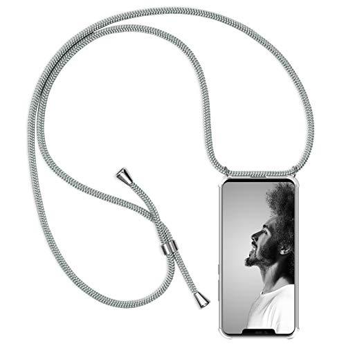 ZhinkArts Handykette kompatibel mit Huawei Mate 20 Pro - Smartphone Necklace Hülle mit Band - Schnur mit Case zum umhängen in Weiß/Silber