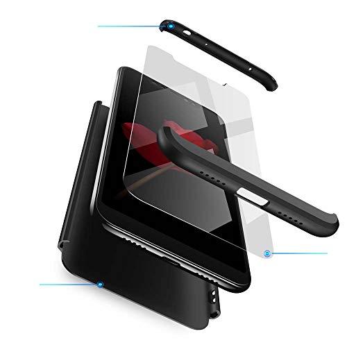 cmdkd Xiaomi Redmi Note 6 Pro Hülle, Hardcase 3 in 1 Handyhülle 360 Grad Hülle Full Cover Case Komplett Schutzhülle Glatte Bumper + Panzerglas für Xiaomi Redmi Note 6 Pro,Schwarz