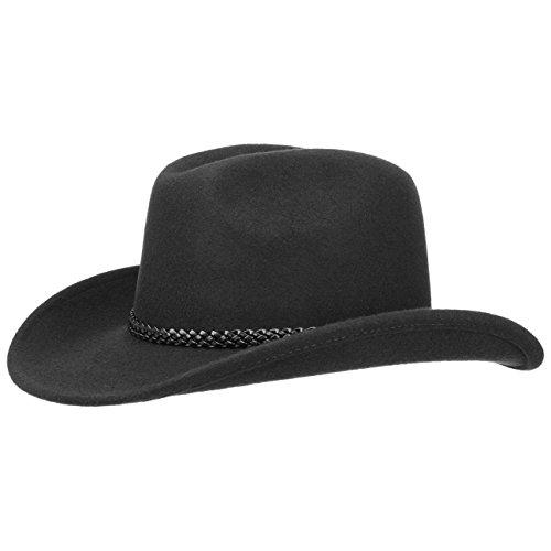 Lipodo Cowboyhut Texashut Wollfilzhut (XL/60-61 - schwarz)