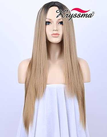 K'ryssma Black Rooted Honey Blonde Wig Natural Looking Middle Part Ombre Synthetic Wigs for Women Long Silky Straight Cheap Hair Replacement 22 inches