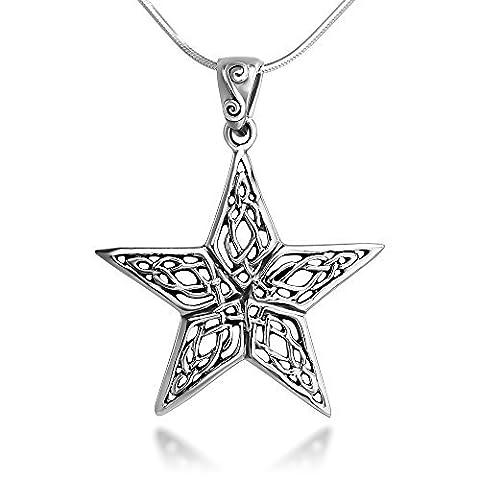 Argent sterling 25mm ouvert Nœud celtique en filigrane Grande étoile Pendentif Collier 45,7cm Chaîne