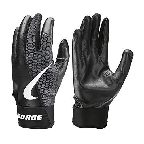 Nike Force Edge Leder Baseball Handschuhe, Batting Gloves - schwarz Gr. S (Nike-baseball-handschuh)