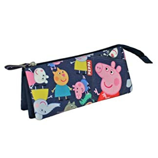 Peppa Pig – Portatodo con 3 Bolsillos, Color Azul (Cerdá 2100000490)