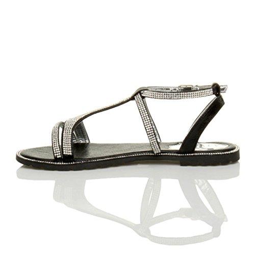 Femmes plat courroie de cheville strappy t-bar soir diamante sandale taille Noir