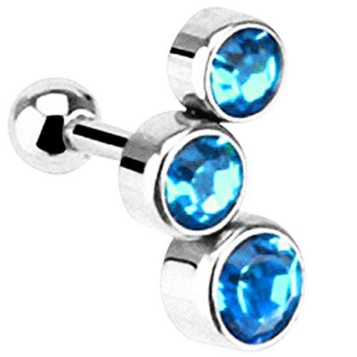 Piersando® Tragus Piercing Helix Cartilage Knorpel Ohr Stecker 316 L Chirurgenstahl mit 3 Zirkonia Kristall Rund Silber Aqua - rechtes (Runde 3 Kostüme)