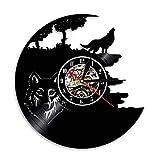 Hulday Wolf Pictures Vinyl Record Reloj De Pared Obtenga Una Decoración Estilo Simple Única De La Habitación O La Pared 2018 Ideas De Regalos Geniales para Hombres Mujeres Sala De Estar