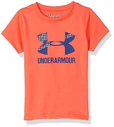 Under Armour Little Girls' Big Logo Short Sleeve Tee, London Orange, 6X