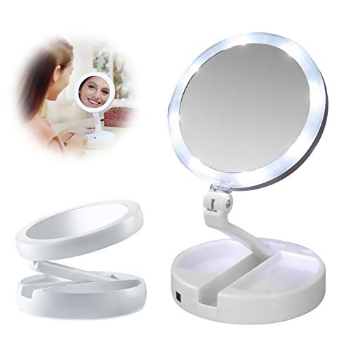 Leijing Espejo cosmético LED Espejo Maquillaje cosmético 10x y 1x Double Faces Espejo Luminoso...