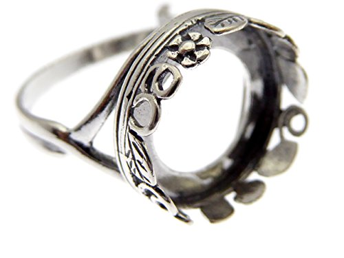 925 Sterling Silber Ring Rohling 14mm Fassung antik silberfarben (Antike Sterling Silber)