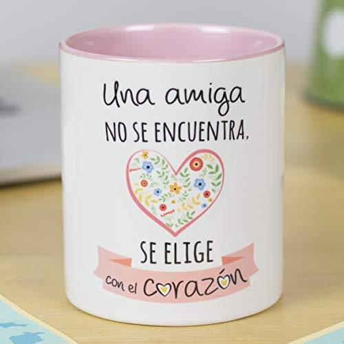 La Mente es Maravillosa - Taza con Frase y Dibujo Divertido - Regalo Original AMIGAS - (Amiga corazón)