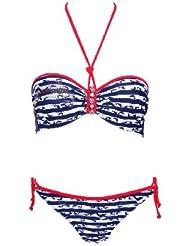 W13889 Bandeau Bikini mit Delfinen und blauen Streifen
