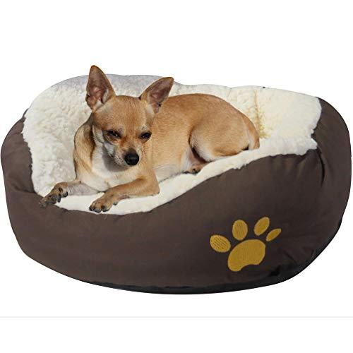 Evelots kleines rundes Haustierkörbchen für Katzen und Hunde,warm,braun - 3