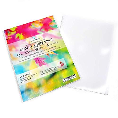 10 hojas A4 impermeables de vinilo (PVC) de gran calidad color blanco brillante, autoadhesivas e imprimibles por inyección