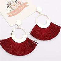 SSEHXL earring Fashion Bohemian Women Tassel Earrings Statement Fringe Earings Circle Vintage Dangle Gold Round Earring Jewelry