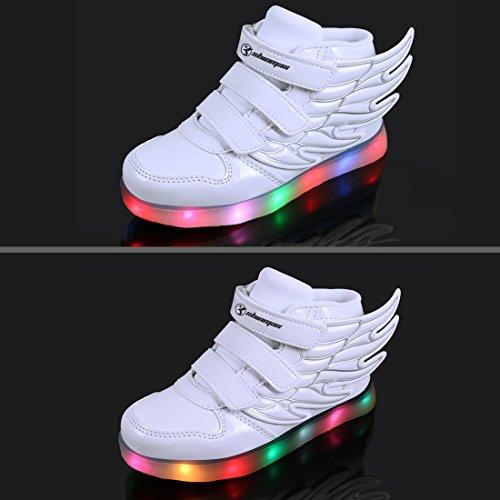 LED Chaussures,Angin-Tech Ange Série Led Chaussure 7 Couleurs USB Rechargeable Clignotant Chaussures Basket Lumineuse de Garçon et Fille pour Noël Halloween avec CE Certificat white