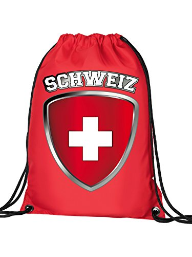 Golebros Schweiz Switzerland Fan Artikel 4701 Fuss Ball Turn Sport Beutel Unisex EM 2020 WM 2022 Trikot Look Flagge Fahne Team Kinder Kids Junge Mädchen Rot