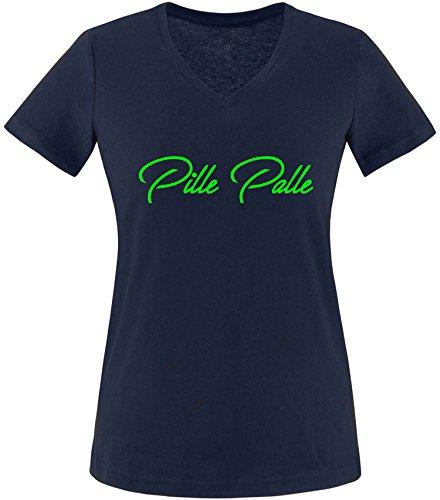 EZYshirt® Pille Palle Damen V-Neck T-Shirt Navy/Neongrün