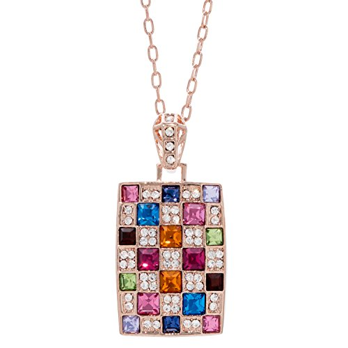 Suffolk Jewelry Necklace with Colourful Pendant – 18 K Rose Plated Jewellery Necklace – Multiple Gems Jewellery Necklace – Chain Length 40cm + 5cm - Colorful Mosaic Pendant
