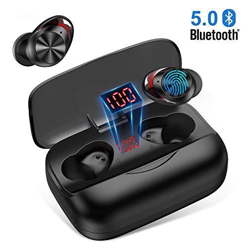 Écouteurs Bluetooth sans Fil, Oreillette Bluetooth 5.0 Hi-FI Son Stéréo【LCD 100%-0】 3000mAh Boîte de Charge Réduction du Bruit CVC8.0 avec Microphone HD Casque Tactile Écouteur Sport pour Smartphone