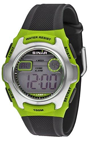 SINAR XE-50-3 Uhr Junge Kinderuhr Jugenduhr Resin Kunststoff 100m Digital Datum Licht Alarm Timer schwarz