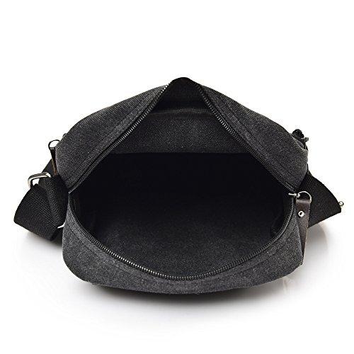 Outreo Kleine Umhängetasche Herren Schultertasche Vintage Herrentaschen Retro Messenger Bag Canvas Taschen für Sport Tablet Schule Kuriertasche Segeltuchtaschen Reisetasche Werkzeug Sporttasche Schwarz