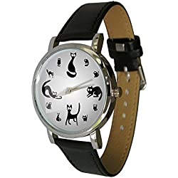 Cute Cats Design fashion watch (C8). The perfect cat lovers gift. Genuine Leather Strap