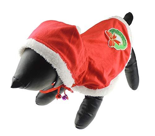 Festive Hunde Katzen Rot Weiß Kapuzen Winter Santa Cape Coat ()