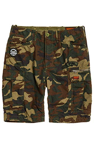 Red Camo Shorts (Superdry Herren Parachute Cargo Shorts, Grün (Olive Alpine Camo Red), Gr. 28)