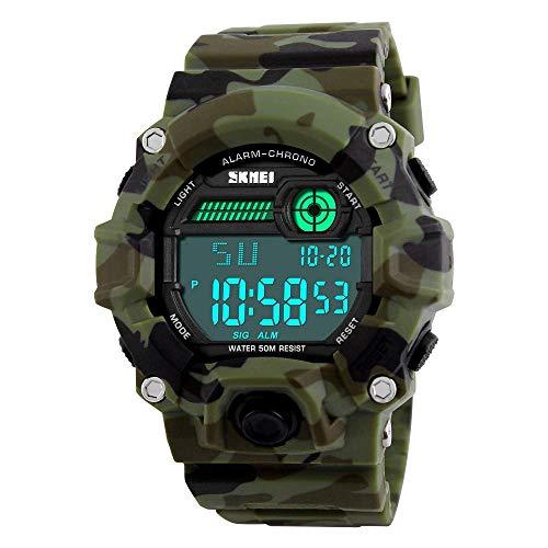OUTLETISSIMO® Armbanduhr Digital Military Camouflage Wasserdicht Japanische Bewegung ET66 Herren
