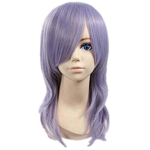 De corazones de larga Etruke Pandora de pelo rizado de color púrpura de ratón de las pelucas de la danza