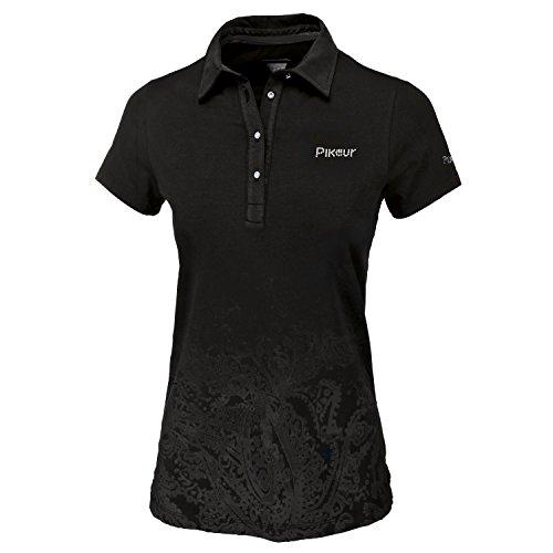 PIKEUR Damen Polo Shirt mit Paisley Print THANILA, schwarz, 38