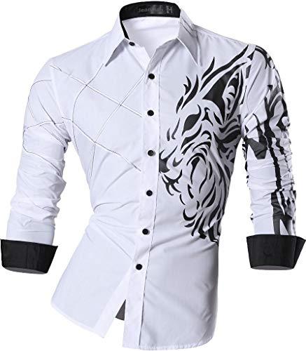 jeansian Camisas de Hombres Mangas Largas Moda Men Shirts Slim Fit Causal Long Sleves Fashion Z030 White XL