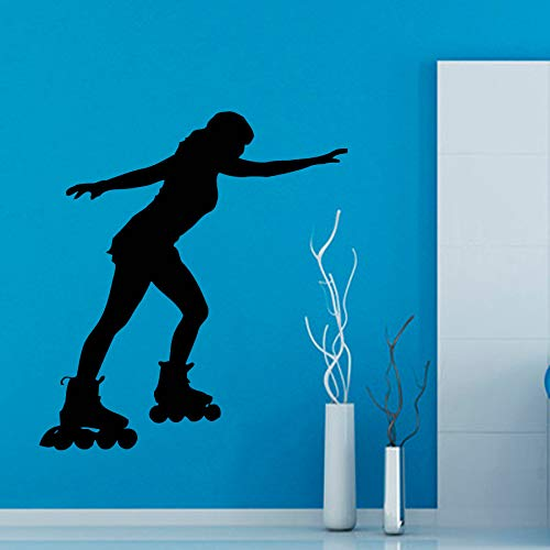 zhuziji Roller Skate Sport Wall Decal Girls Bedroom Vinyl Wall Stickers Skating Gym Woman Interior Removable Home Decor DIY Mural 95x86cm - Girls Womens Natural