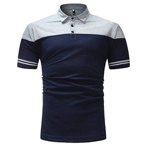 Lanskrlsp maglietta uomo elegante, fashion business shirt uomo slim fit patchwork top manica corta polo tee camicetta top (b - grigio, l)
