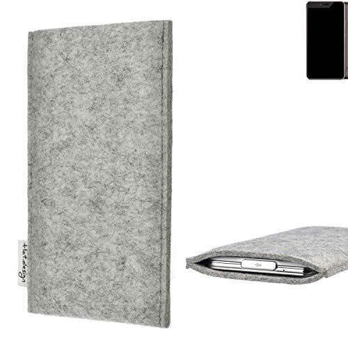 flat.design Handy Hülle Porto für Allview X4 Xtreme maßgefertigte Handytasche Filz Tasche Schutz Case fair grau