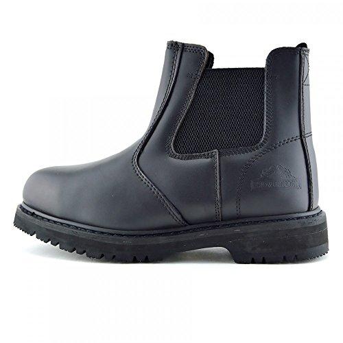 Kick Footwear - Herren Groundwork Stahl-Zehe-Sicherheits-Slip-Pull Auf Stiefel - UK 6 / EU 40, Schwarz