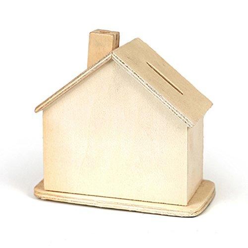 efco Spardose House blank, Holz, braun, 11x 10x 7cm
