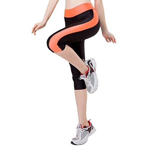 TININNA Femmes Sport Capri Physique Elastique Leggings Mince Yoga Des Pantalons De Yoga Jogging Orange