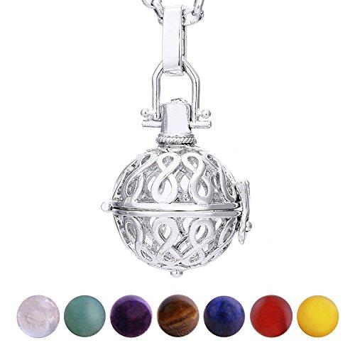 Morella collana donna acciaio inossidabile 70 cm con ciondolo infinito e 7 sfere con pietre preziose gemme minerali chakra in un sacchetto di velluto